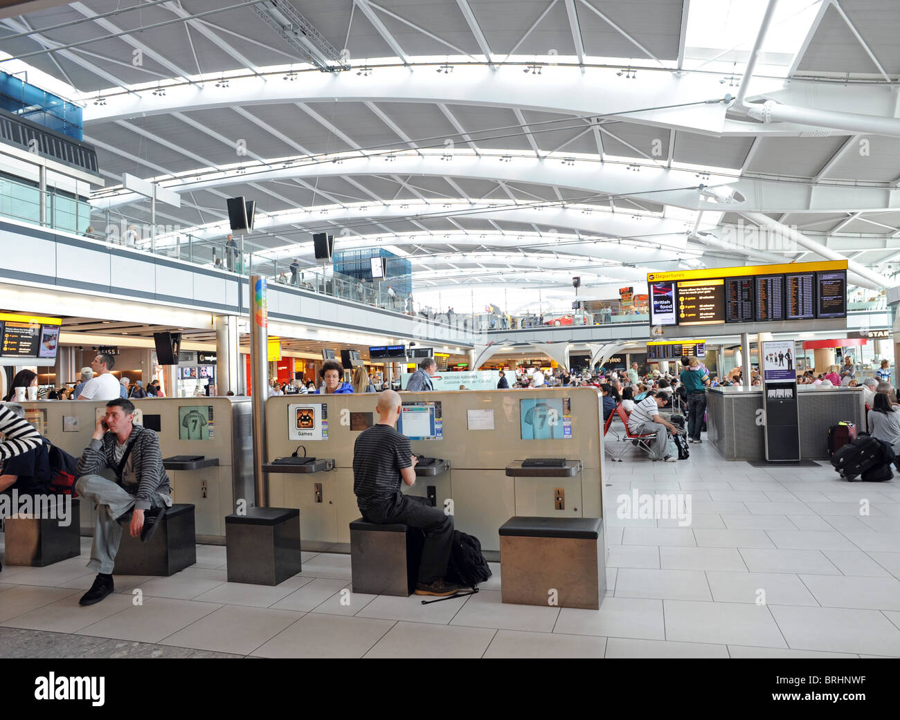 The departures hall in Heathrow's Terminal 5 - Stock Image