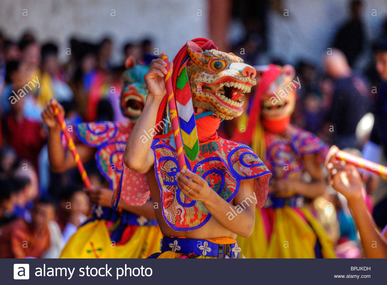 Dancers recreate myths and legends of Himalayan Buddhism in festivals. - Stock Image