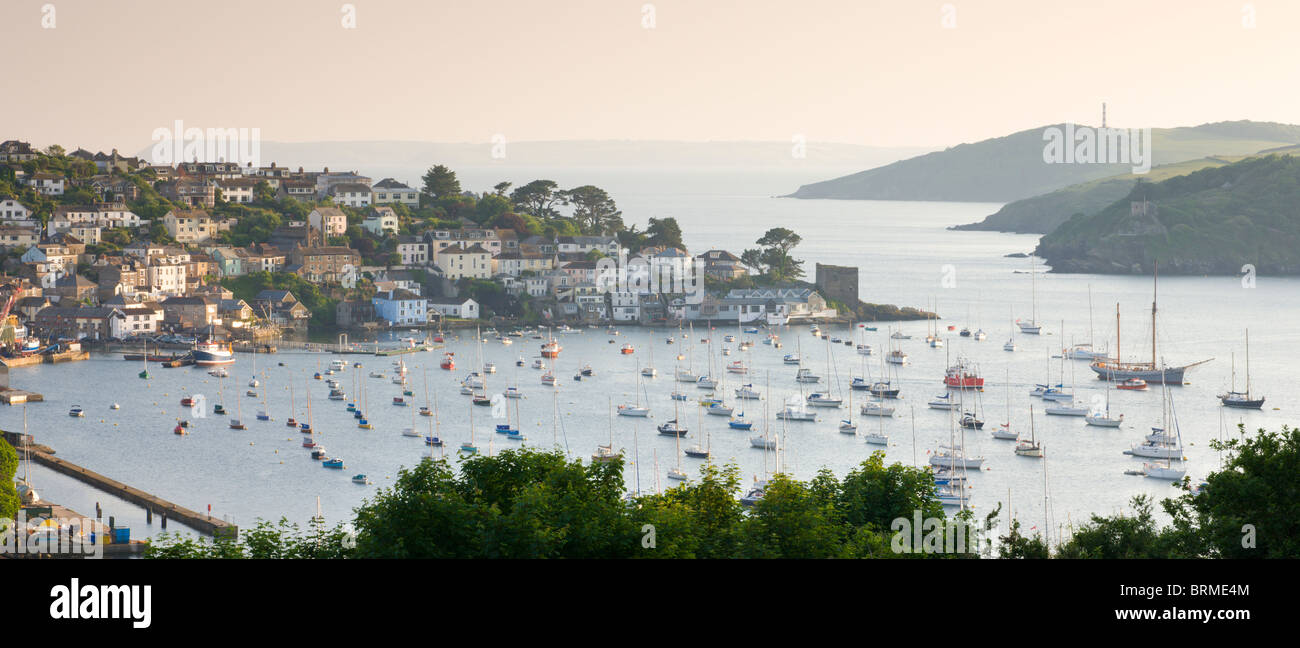 Looking across Fowey estuary to Polruan from Hall Walk above Bodinnick, Cornwall, England. Summer (June) 2010. - Stock Image