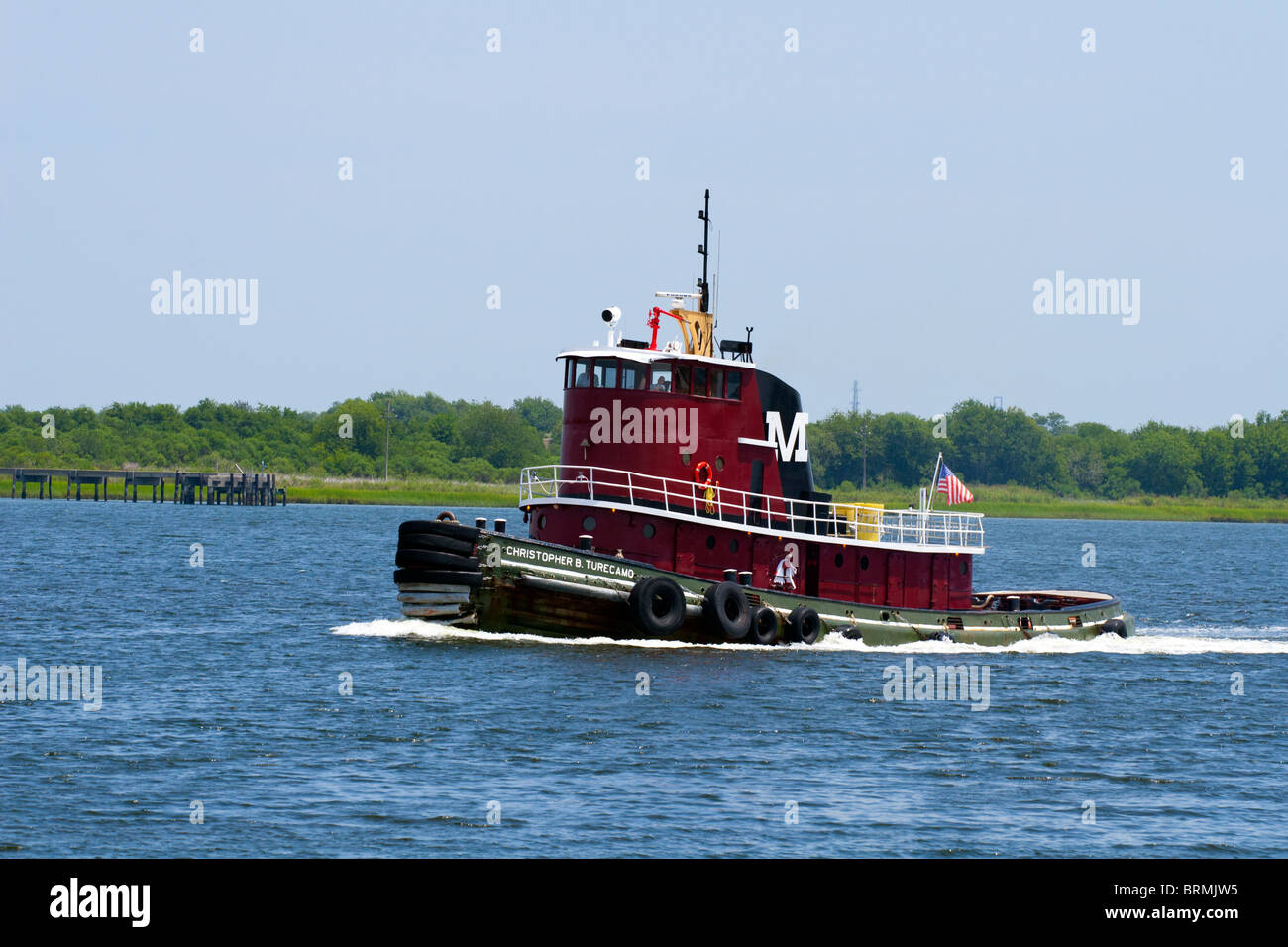 Moran company tugboat passing by on the Cooper River in the