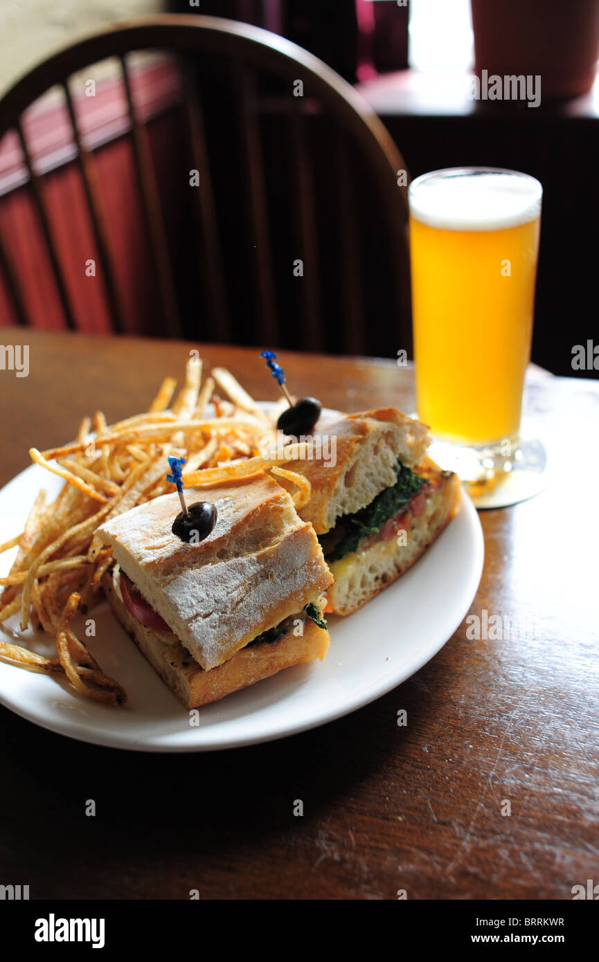 USA New York Geneva Lake Geneva NY steak sandwich at the Red Dove Tavern pub restaurant Stock Photo