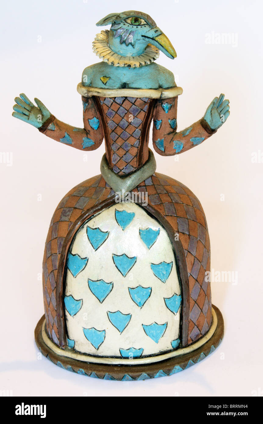 Scent bottle in form of a ceramic bird-headed figure, by Eleanor Bartleman. - Stock Image