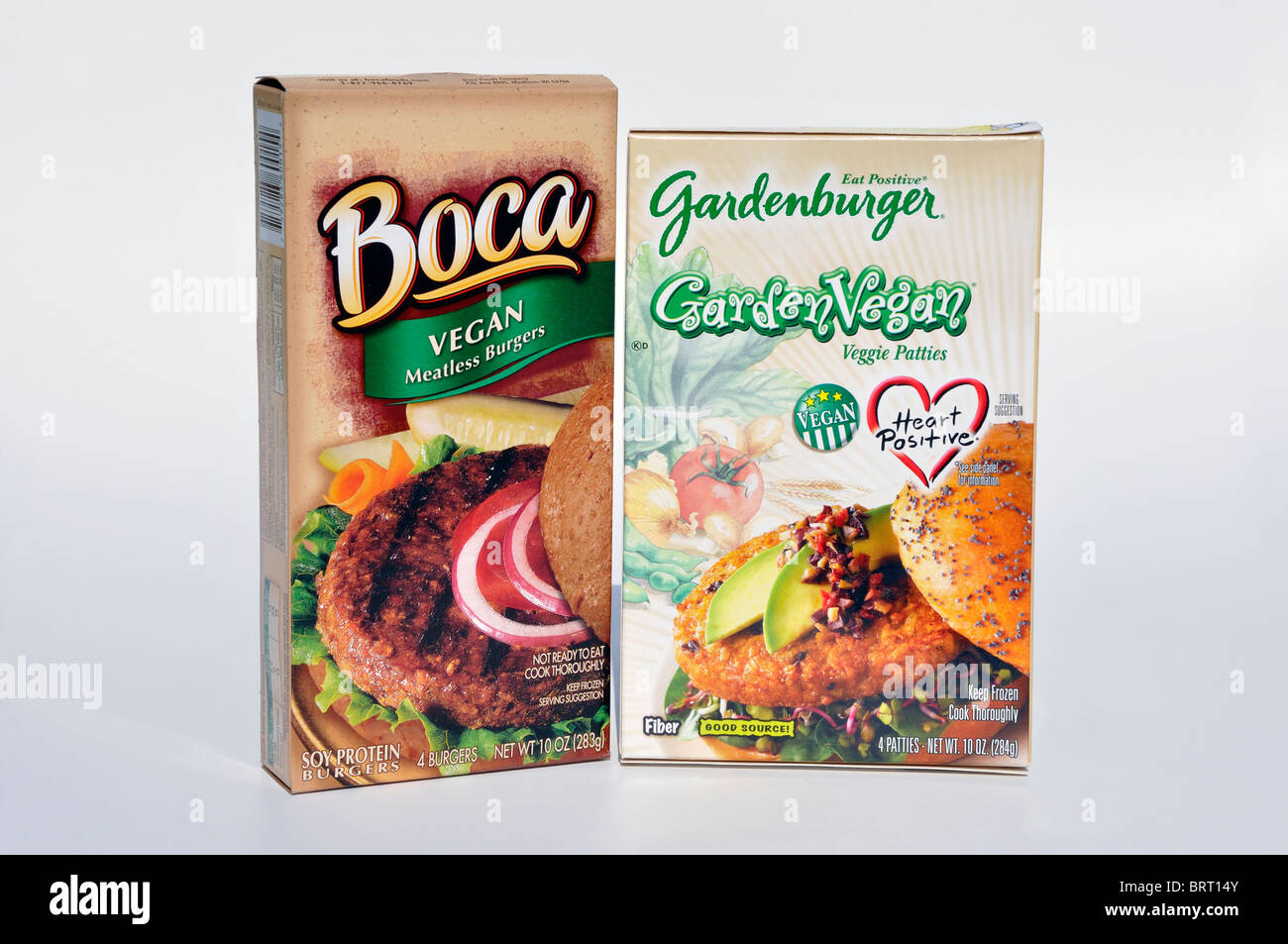 Vegan/vegetarian meatless burgers package Stock Photo