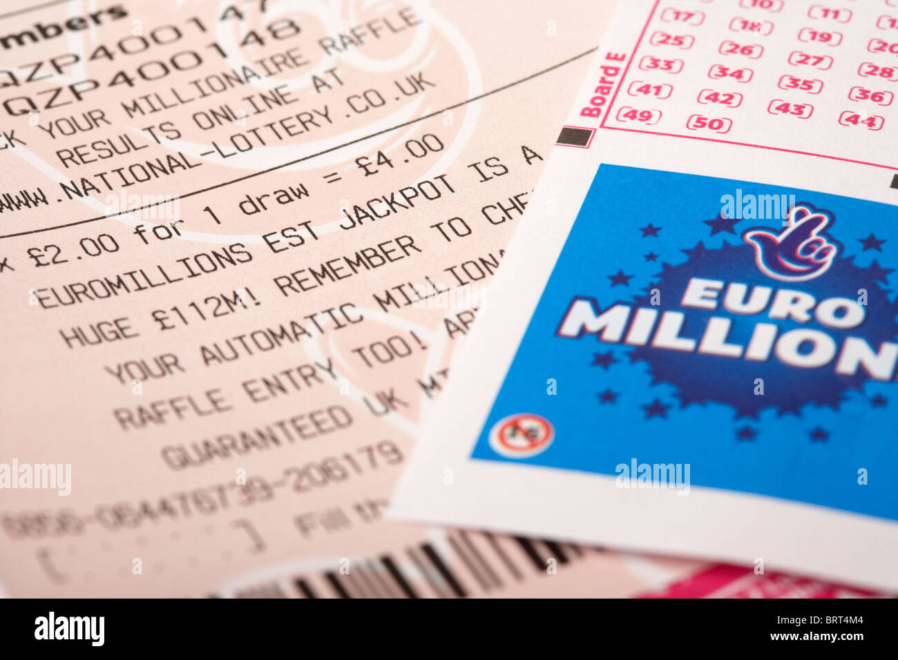 uk british national lottery euromillions ticket with picks Stock Photo