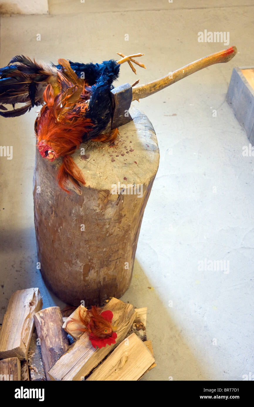 Model of a rooster with its head chopped off by an axe - Stock Image