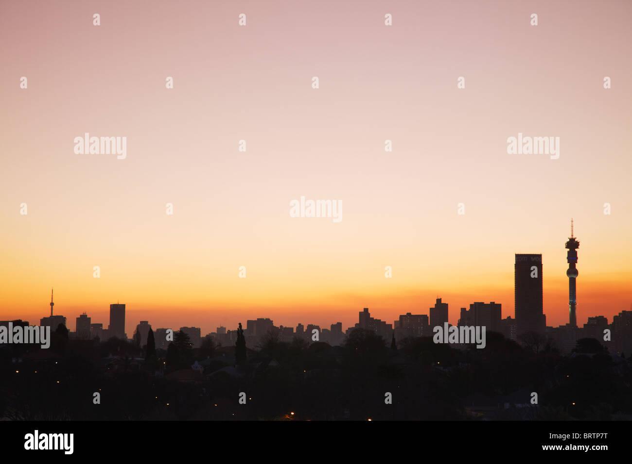 Johannesburg skyline at dusk gauteng south africa stock photo johannesburg skyline at dusk gauteng south africa thecheapjerseys Images