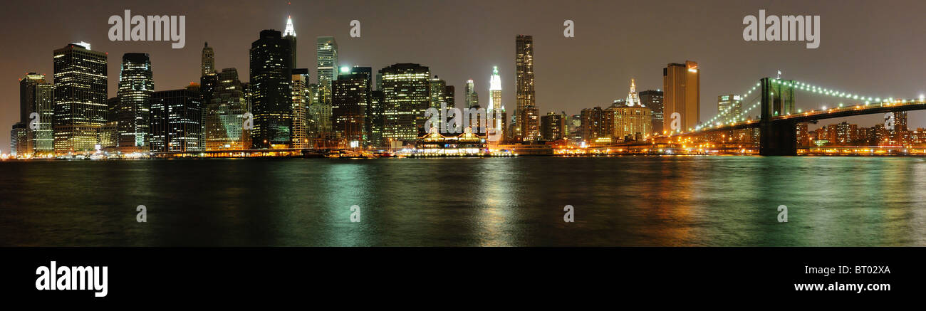 Sight of Wall Manhattan from Brooklyn, Manhattan, New-York, United-States - Stock Image