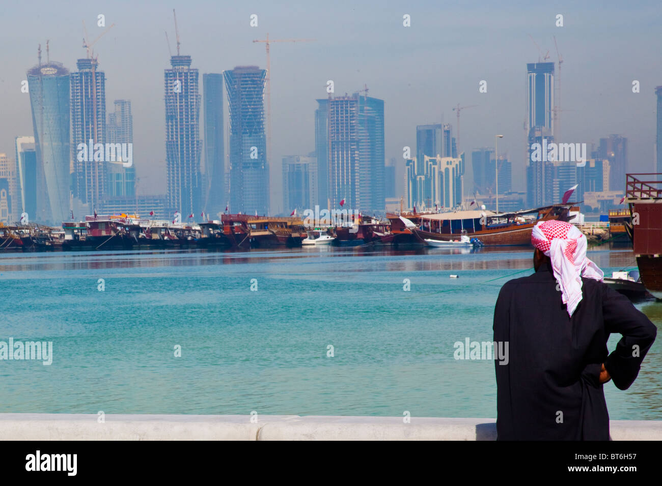 Skyscraper Construction Skyline in Doha Qatar - Stock Image