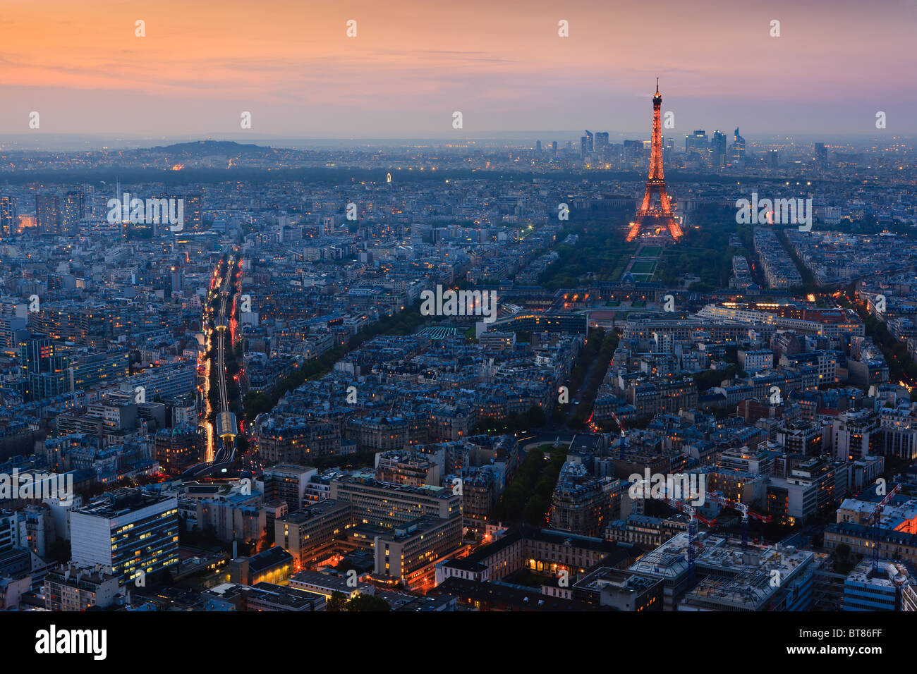 Sunset in Paris with the view from the Tour Montparnasse Tower on the Eiffeltower - Stock Image