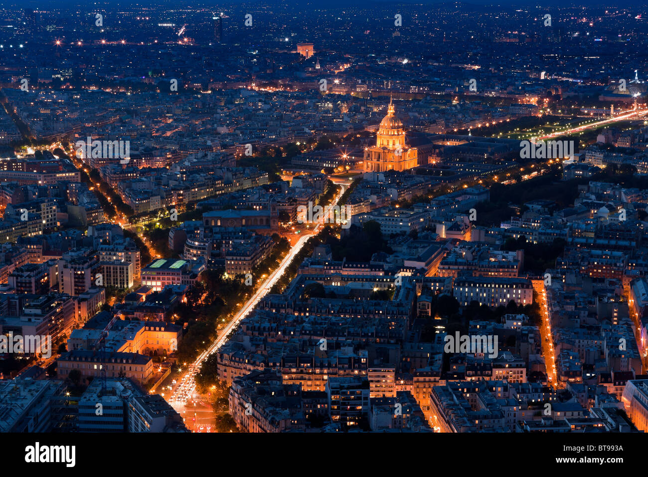Sunset in Paris with the view from the Tour Montparnasse Tower on Les Invalides - Stock Image