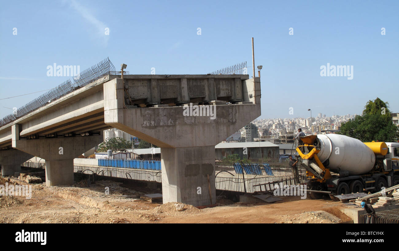 Lebanon, Beirut. Urban dream. New road flyover construction. - Stock Image