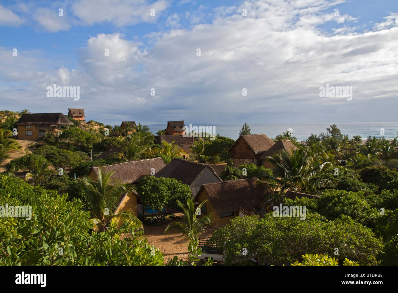 Scenic view of houses and holiday cottages on the Mozambique coast - Stock Image