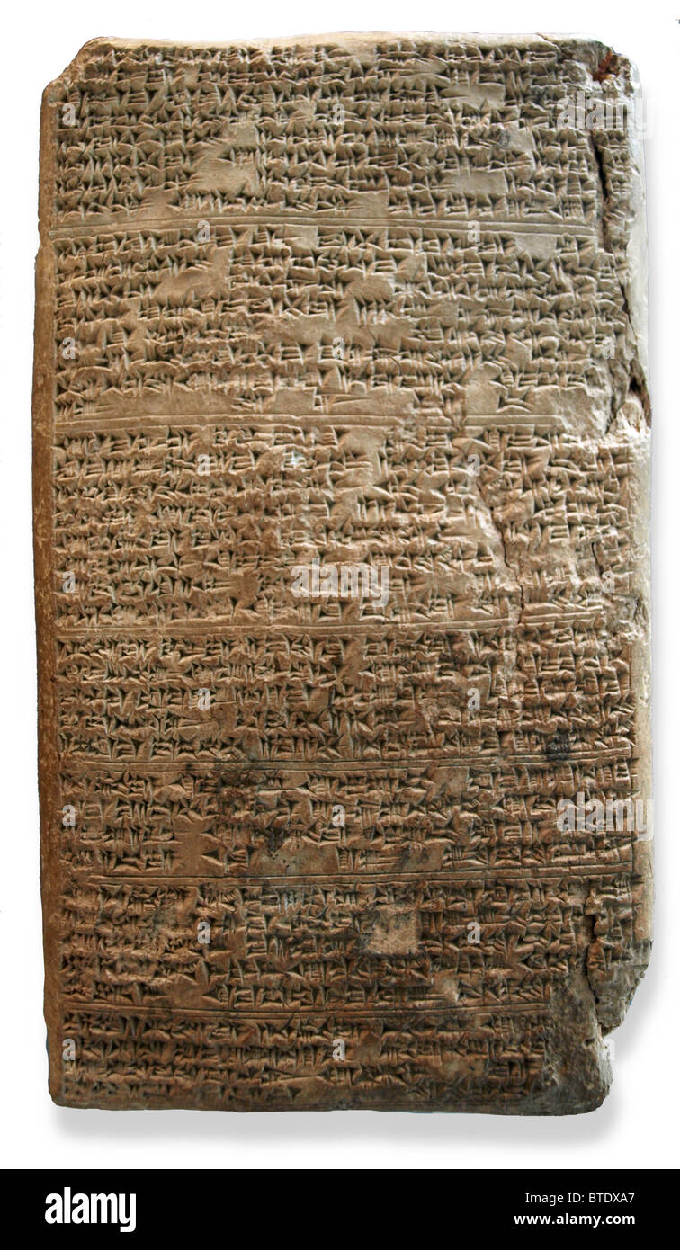 5471. El Amarna letter (WAA 29791). Cuneiform tablet from Tushratta king of Mitanni dating c. 1350  BC. The letter Stock Photo