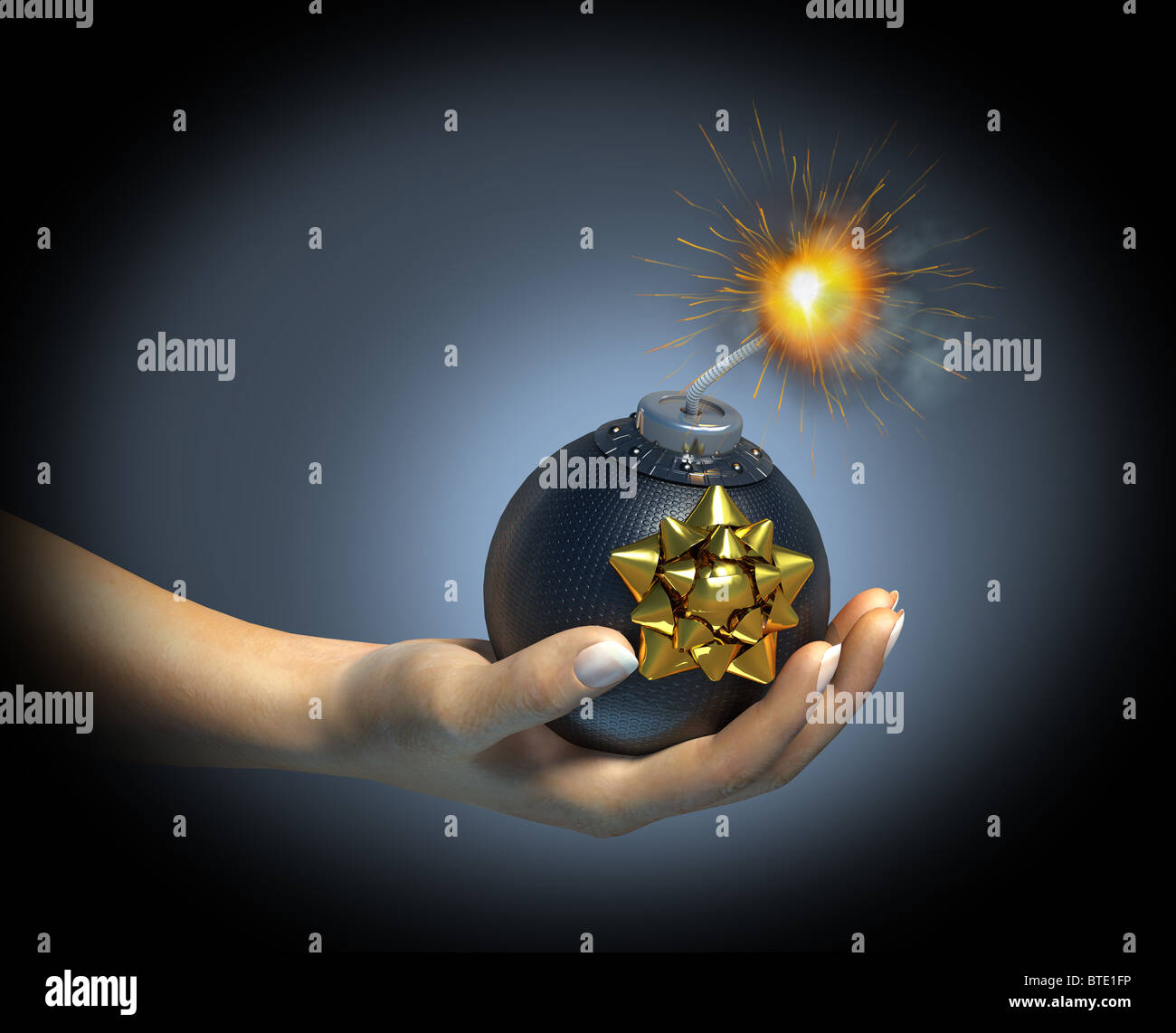 Hand holding a bomb with sparkling riot, with a gift rosette on it. - Stock Image