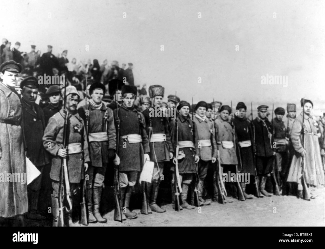 WWI. A regiment of poor peasants prior to their sending off to the battlefront. 1918. - Stock Image