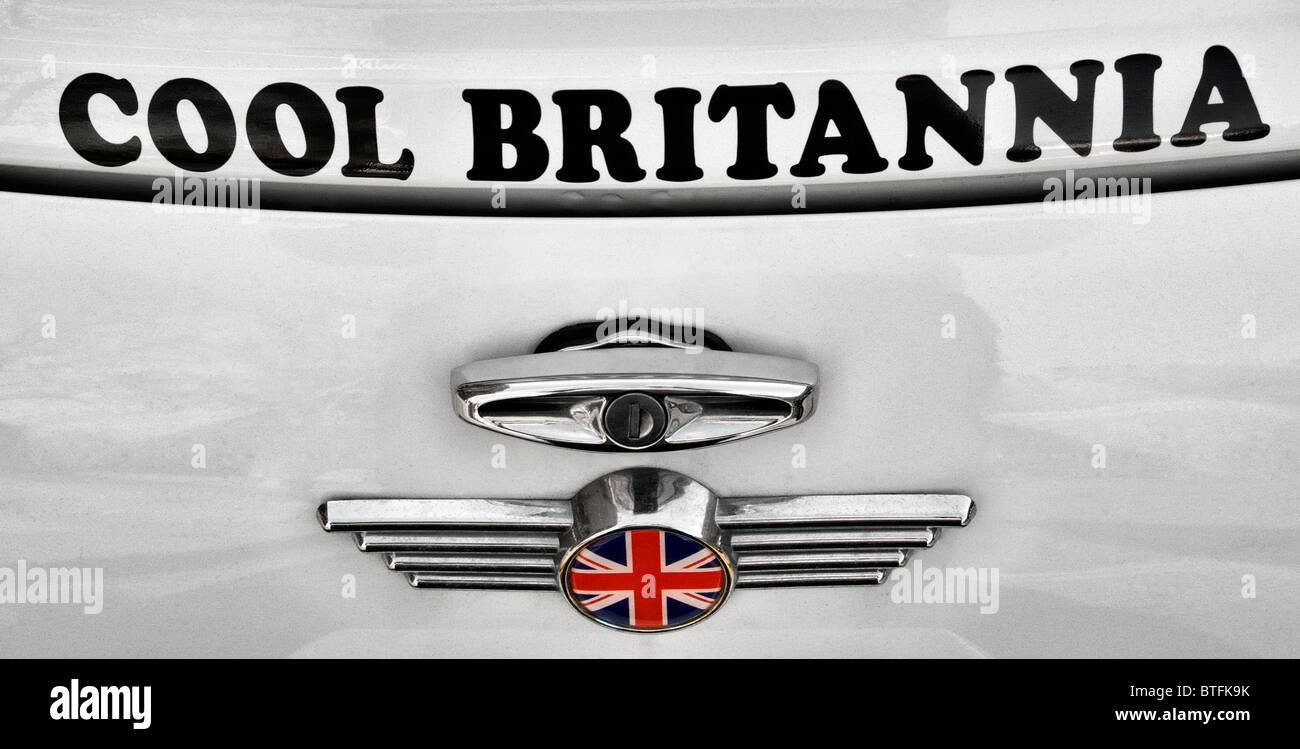 Cool Britannia Mini car badge. - Stock Image