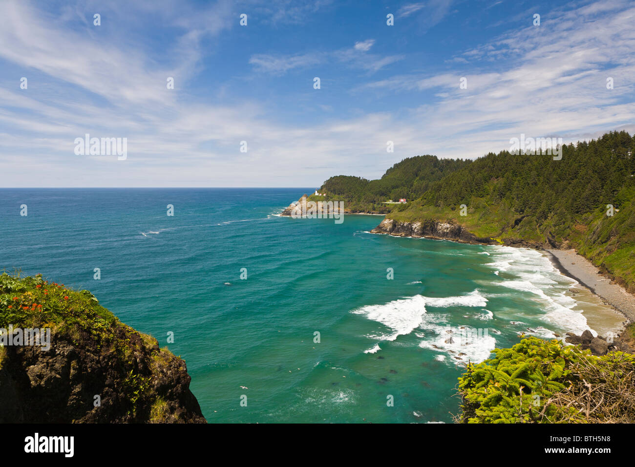 Heceta Head Lighthouse on the Pacific Ocean coast of Oregon Heceta Head Lighthouse on the Pacific Ocean coast of - Stock Image