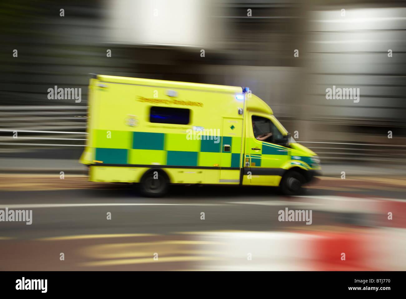 Speeding ambulance, London, England, United Kingdom - Stock Image