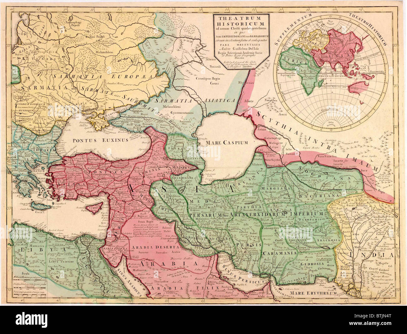 1712 French map of Southwest Asia and Southeast Europe recreating ...