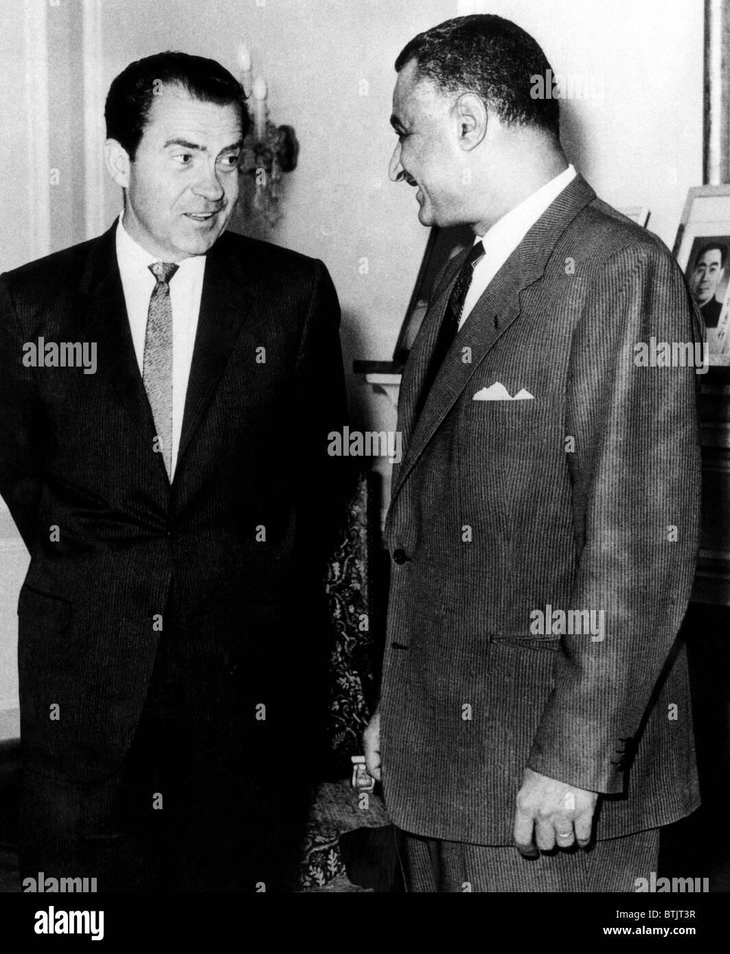 U.S. President Richard Nixon and the President of Egypt Gamal Abdel Nasser, meeting in Cairo, Egypt, 1970. - Stock Image