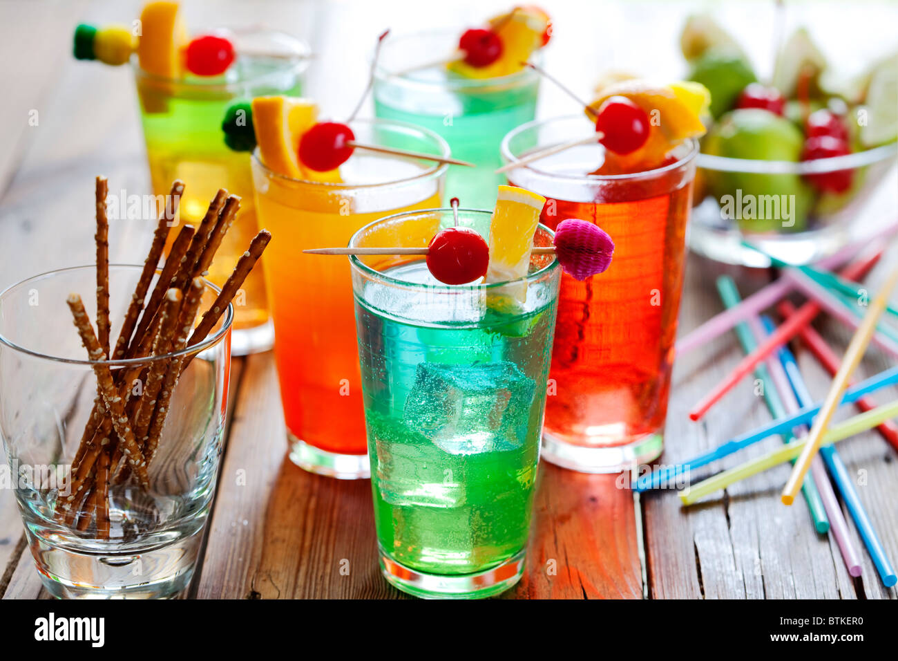 colourful cocktails - Stock Image