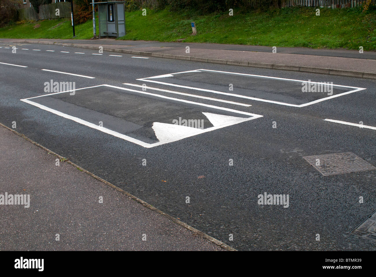 Road Humps Markings Stock Photo