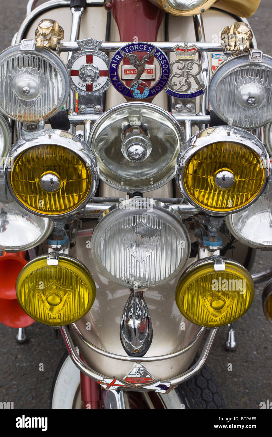 Headlights And Mirrors At A Bike Show In England Stock Photo