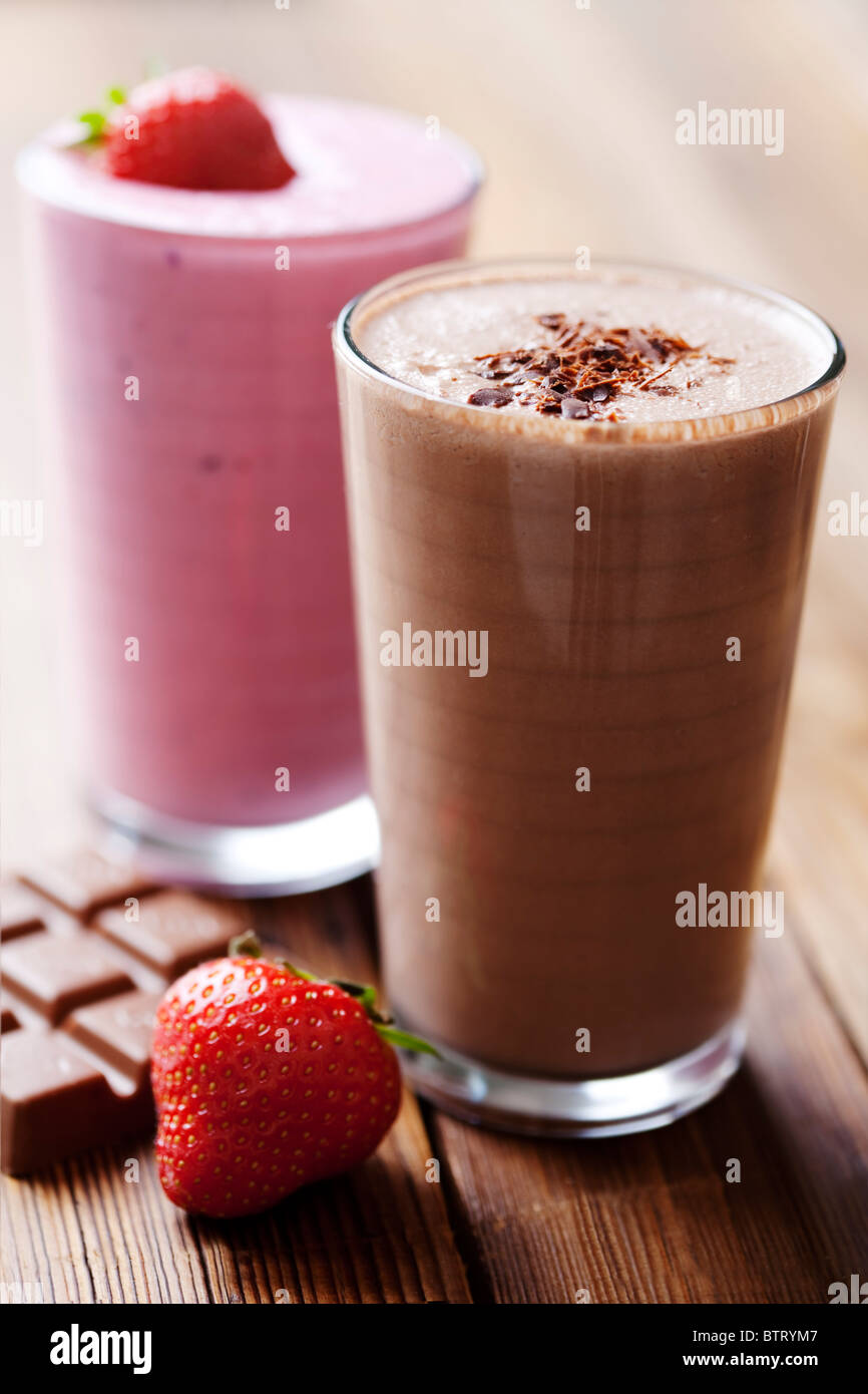 strawberry and chocolate milk shake - Stock Image