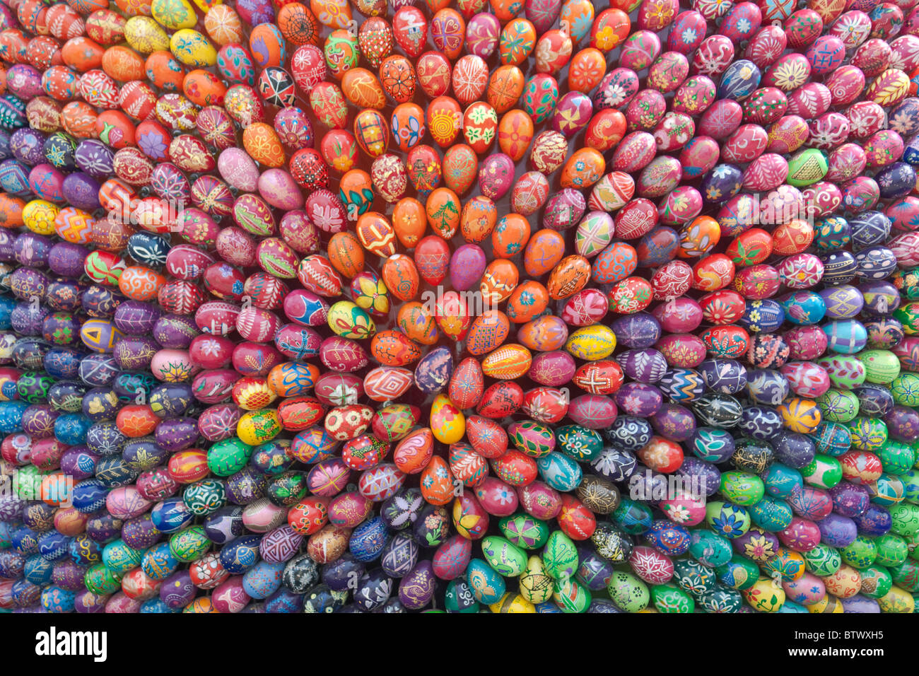 Colorful hand painted easter eggs - Stock Image