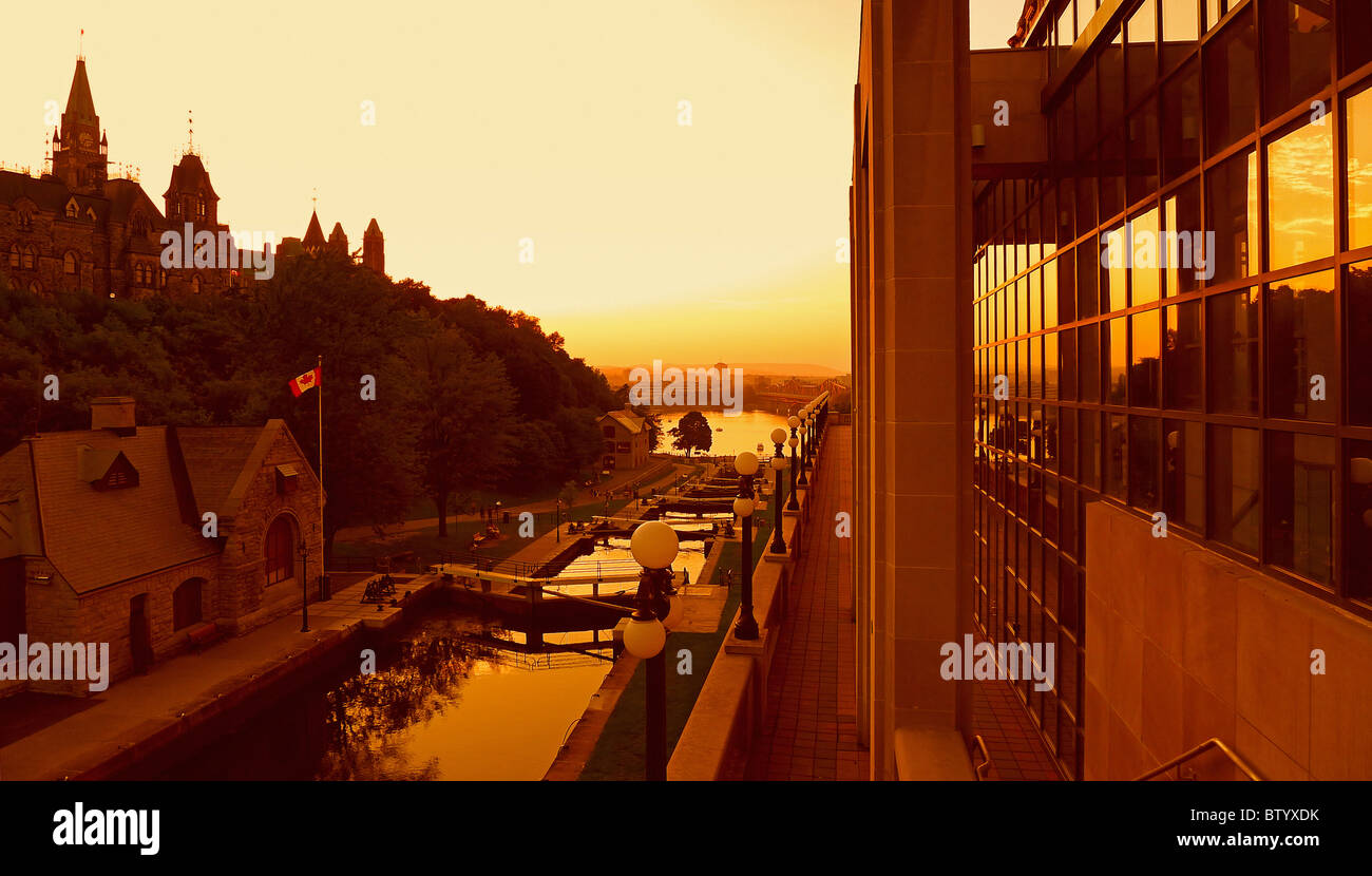 Canadian cities, Rideau Canal, Ottawa Ontario Canada. - Stock Image
