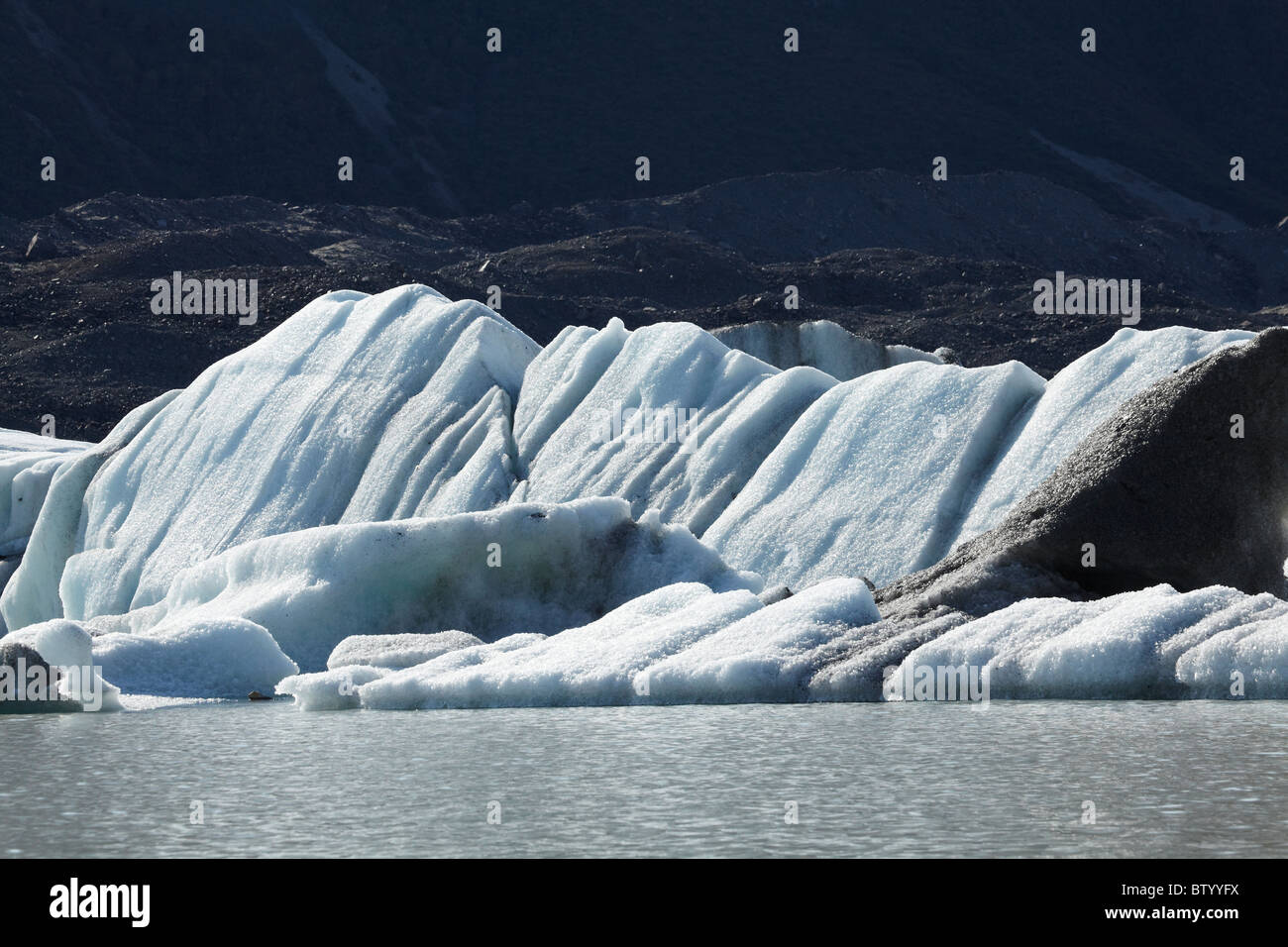 Icebergs in Tasman Glacier Terminal Lake, Aoraki / Mt Cook National Park, Canterbury, South Island, New Zealand Stock Photo