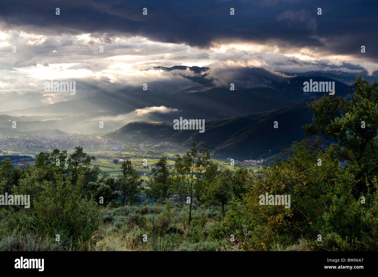 View from the village of Ortedo towards the town of La Seu d'Urgell, in the Pyrenees of Catalonia, Spain, after Stock Photo