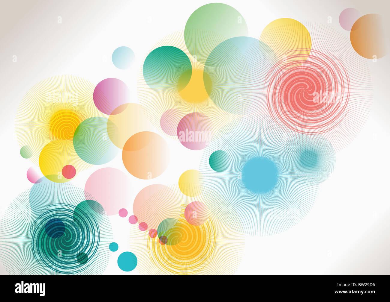 colorful circled pattern - Stock Image