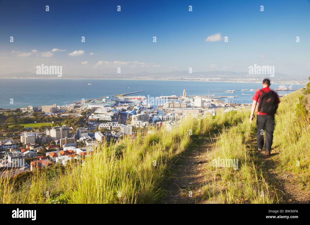 Man hiking on Signal Hill with Victoria and Alfred Waterfront in background, Cape Town, Western Cape, South Africa - Stock Image