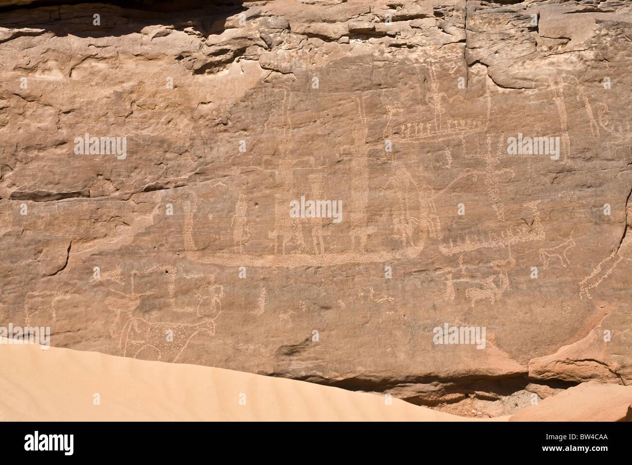 Hans Winkler's famous recorded Rock-Art site 26 in Wadi Abu Wasil in the Eastern Desert of Egypt. - Stock Image