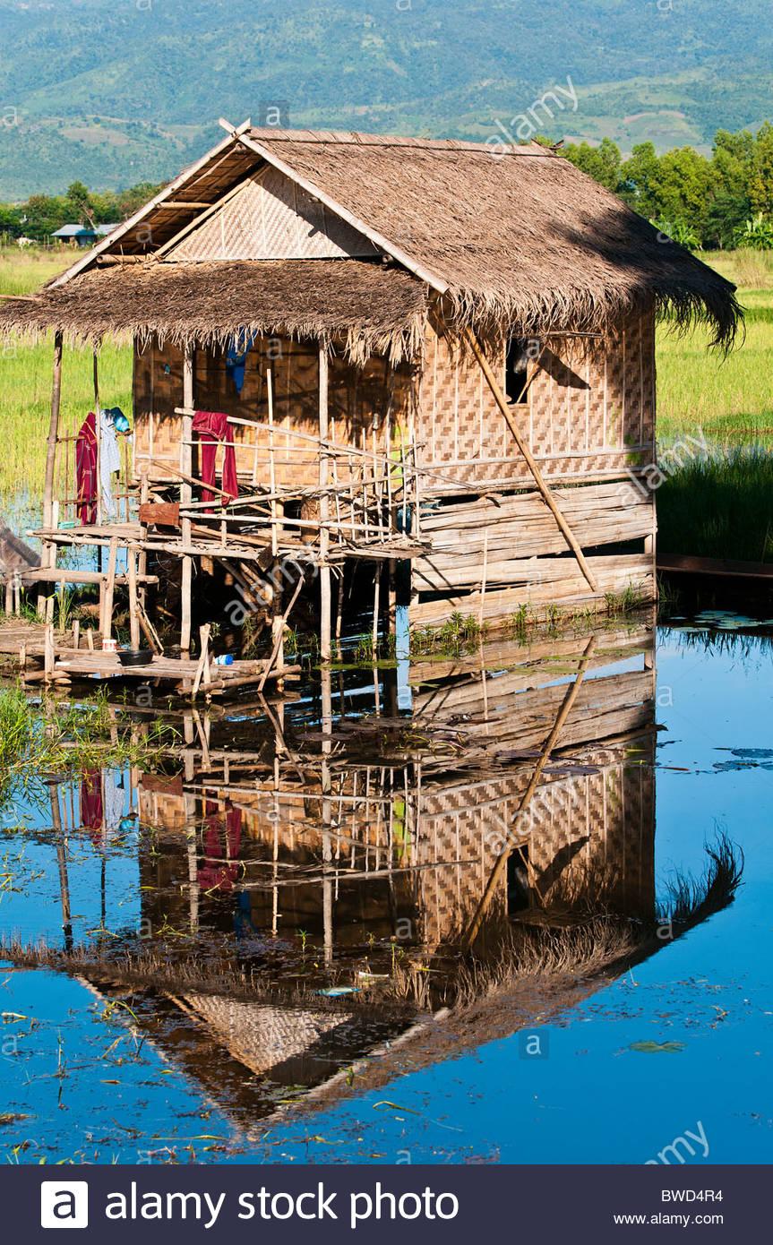 Stilt house or lake dwelling, Inle Lake, Nyaungshwe, Myanmar - Stock Image
