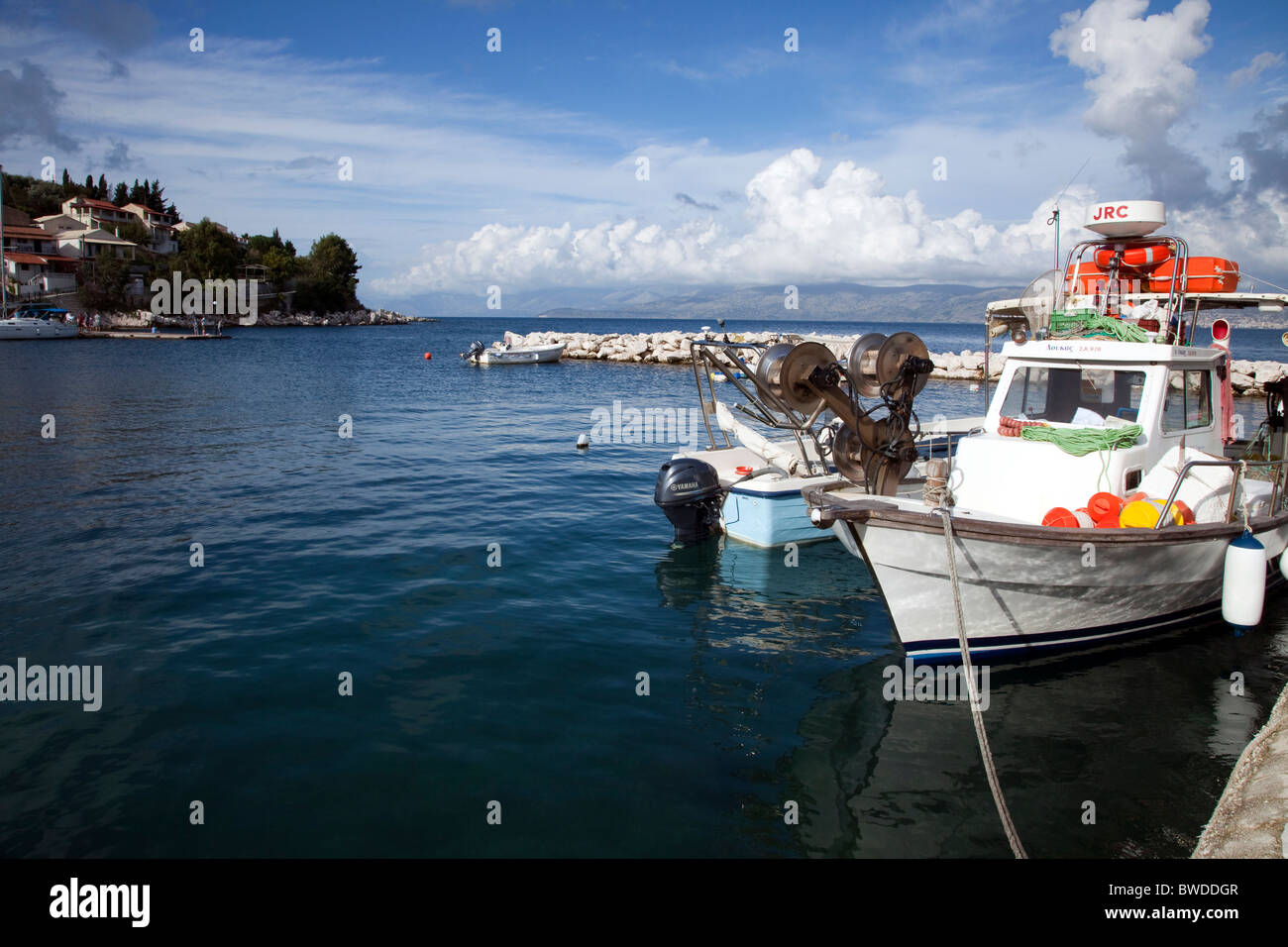 Blue sea harbour - Stock Image