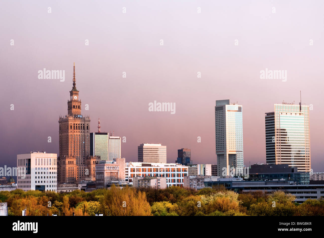 Warsaw, capital city of Poland cityscape, just before the sunset, featuring Palace of Culture and Science, Srodmiescie - Stock Image