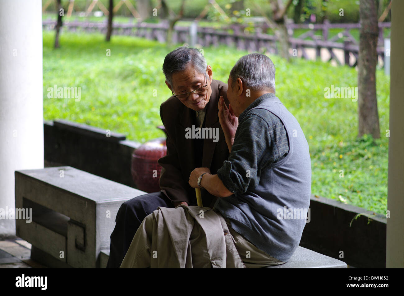 Two old men chatting, Taipei, Taiwan Stock Photo