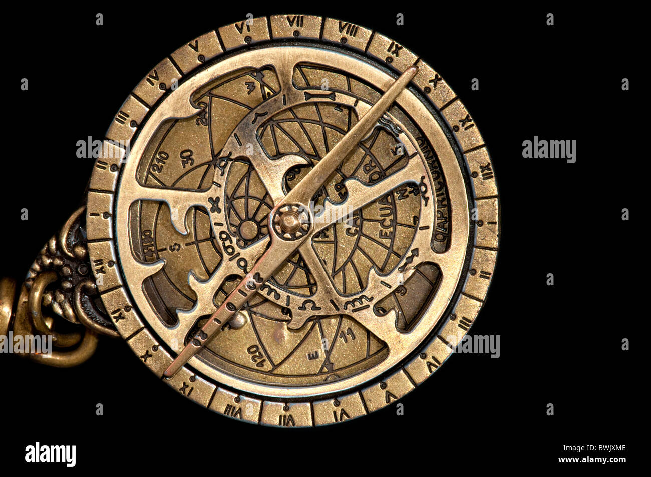 A replica of a medieval astrolabe which is a navigation instrument capable of 43 different astronomical calculations. Stock Photo
