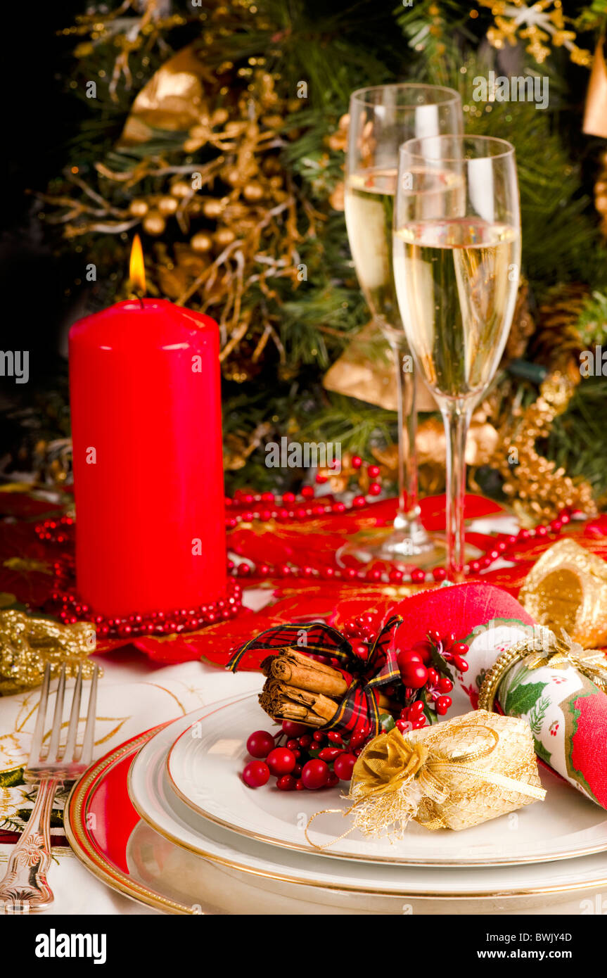 glasses table setting. Christmas Table Setting With Wine Glass And Two Glasses Of Champagne, Red Gold, Decorations Presents S