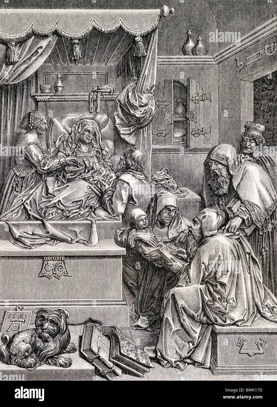 High relief sculpture by Albrecht Durer of The Birth of St John. 16th century. - Stock Image