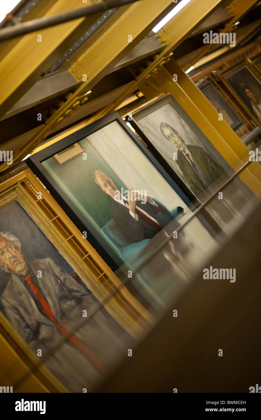 Paintings of welsh personalities in the archive stacks of the National Library of wales Aberystwyth UK - Stock Image