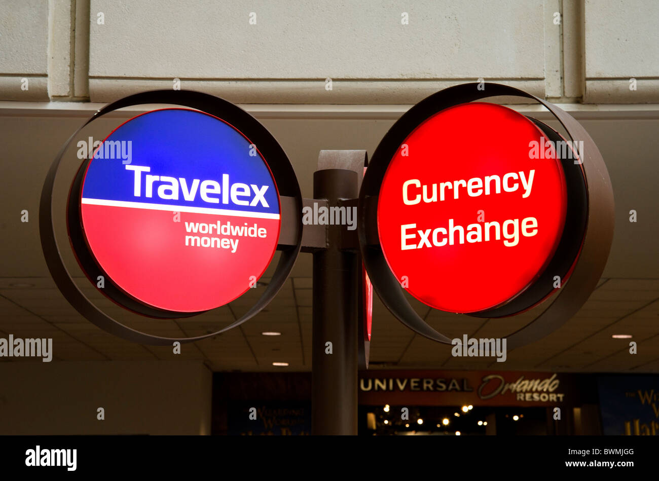 Travelex Currency Exchange Desk at Orlando International Airport, Florida, USA Stock Photo