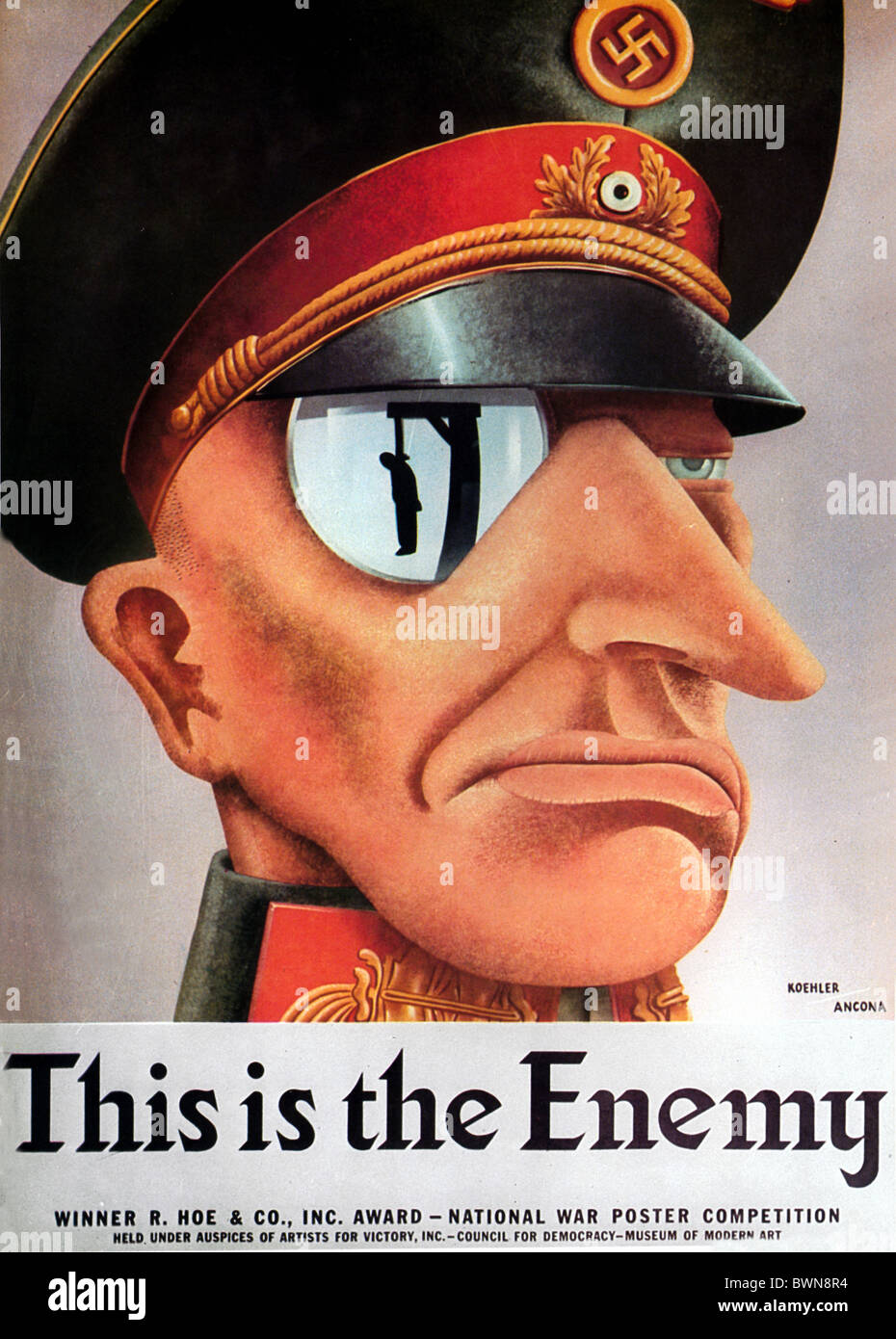 US poster 1942 WW2 history historical historic Second World War Nazi German Wehrmacht Enemy propaganda Germ - Stock Image