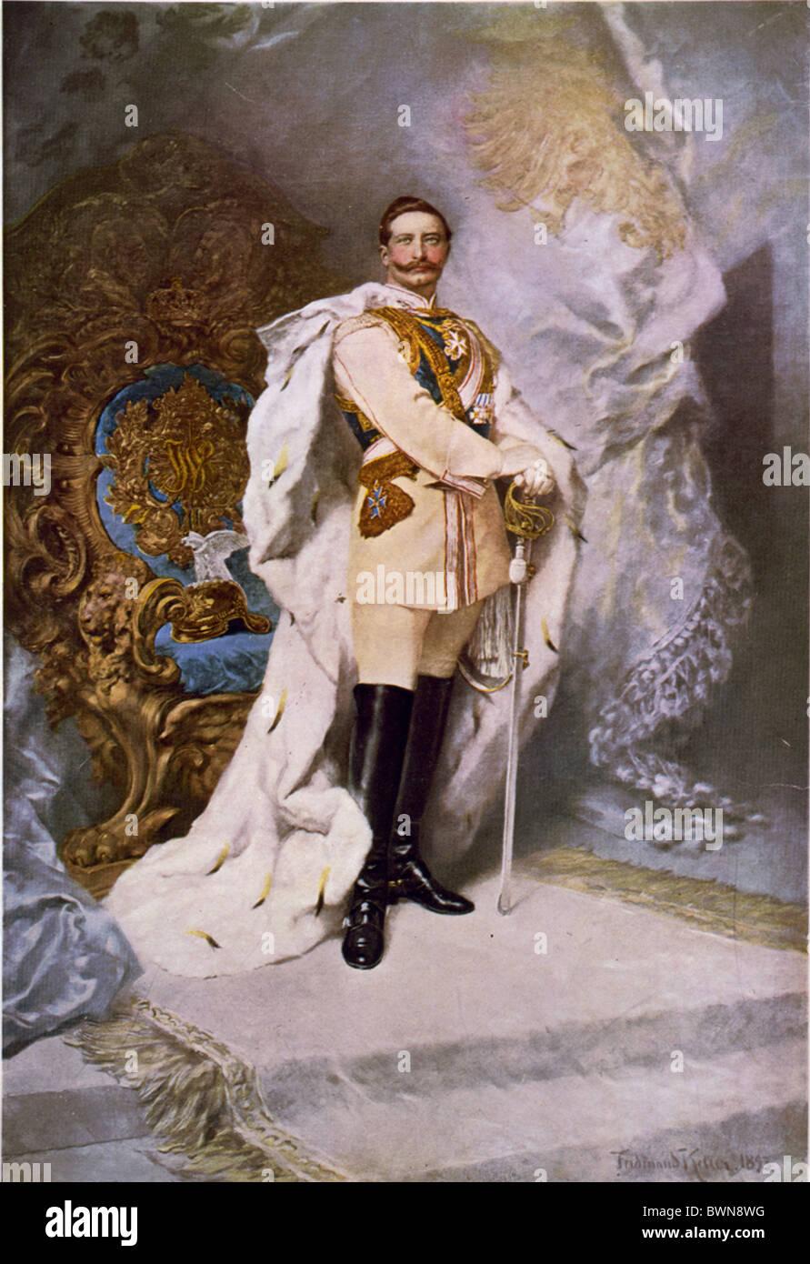 German Emperor Wilhelm II portrait by Ferdinand Keller 1893 Oil on canvas history historical historic paintin - Stock Image