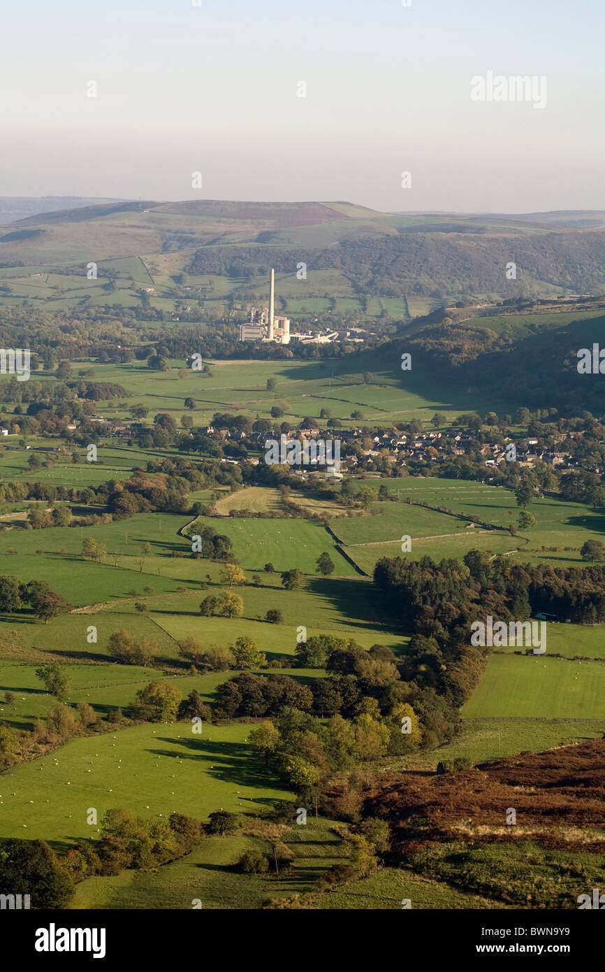 Castleton and the Hope Valley Cement Works and Quarry from Rushup Edge near Edale Derbyshire England - Stock Image