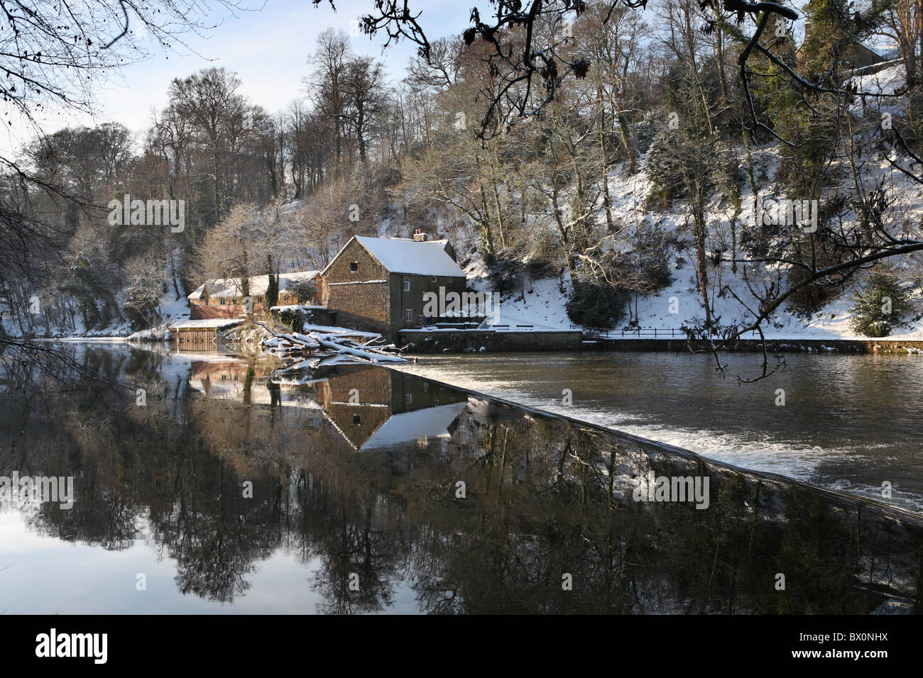 The Mill House And Weir Seen Reflected In The River Wear Durham