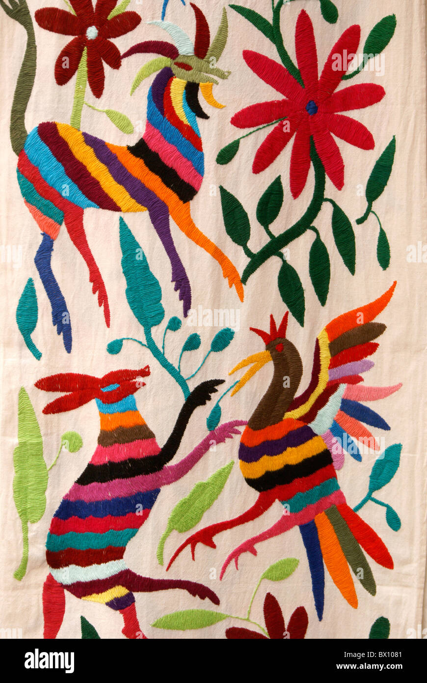 Traditional Embroidery From Otomi Village Of San Pablito Puebla Mexico For Sale In Miguel De Allende
