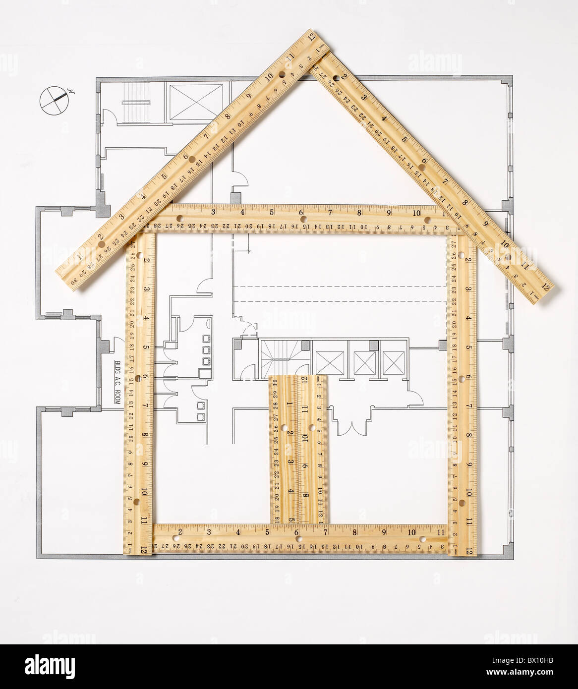 house made of rulers - Stock Image